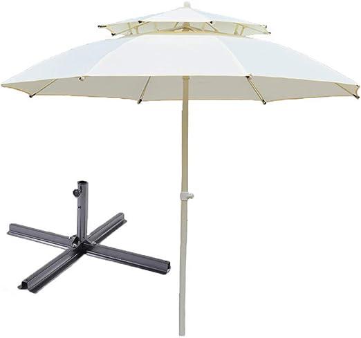 CastersOutdoor umbrella Sombrilla al Aire Libre sombrilla sombrilla de jardín Plegable Doble diseño Superior 3m (con Base): Amazon.es: Hogar