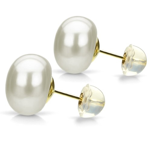 White Freshwater Cultured Button Pearl Earrings 14K Yellow Gold Studs Bridal Jewelry 10-10.5mm (Gold 14k Oyster Yellow)