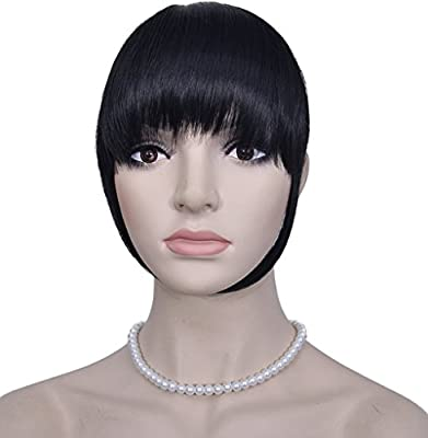 Diforbeauty Short Flat Two Side Hair Clips in Hair Bangs Fringe Hair Extensions Piece