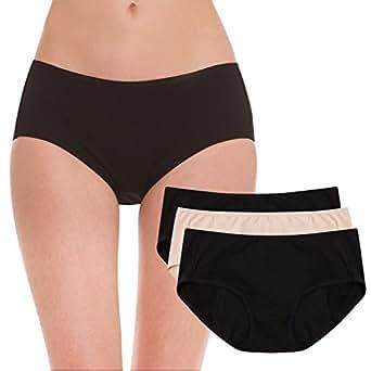 Hesta Women's Organic Cotton Period Menstrual Sanitary Protective Panties Underwear/3Pack (X-Small, 2Black1Natural)