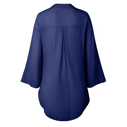 Manche Bouton Longue Femmes Chemisier POachers Chemise Chic Ourlet 3XL Femme Grande Taille Trempette lgant S Col V Navy XwHnCgq