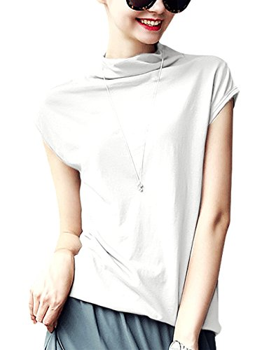 LYOYE Women's Cotton Mock Neck Sleeveless Top Tanks Turtleneck Blouse Plain Shirt White S ()