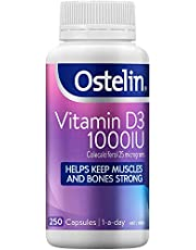 Ostelin Vitamin D3 1000IU Capsules - Maintains bone and muscle strength - Helps boost calcium absorption, 250 Capsules 250 count