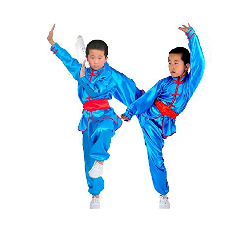 ZooBoo Kids' & Adult Chinese Traditional Wushu Costume Martial Arts Uniforms (Blue, Height 140cm)