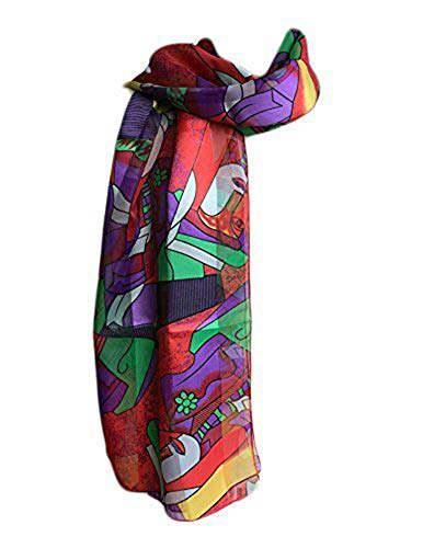 New Company Womens Pablo Picasso Artist Painter Art Scarf Satin Stripe One Size (red)