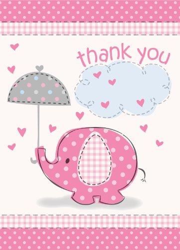 (Umbrella Elephant Girl Baby Shower Thank You Notes w/Envelopes (8ct) )