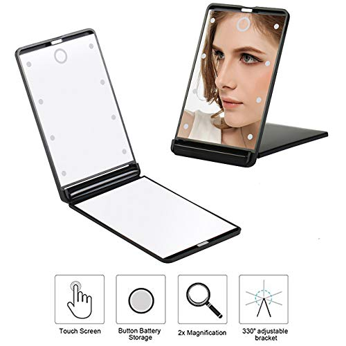 Travel Compact Makeup Mirror, Portable Touch Switch Vanity Magnified Lighted Makeup Mirror with 8 LED Lights(Upgrade)