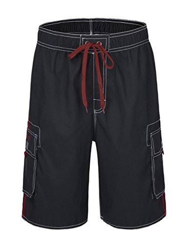 Nonwe Men's Beachwear Board Shorts Quick Dry with Mesh Lining Swim Trunks Black with Red Strap 34