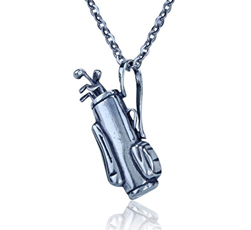 Sterling Silver Jewelry Club (Golf Jewelry - Sterling Silver Golf Bag Pendant with Moveable Golf Clubs on a 20 Inch Necklace)