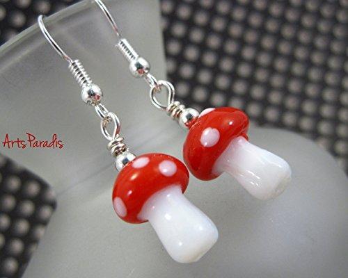 Small Red and White Lampwork Glass Mushroom Fairy Wonderland Dangle Earrings by ArtsParadis