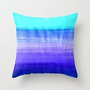 Kissing Rain Ocean Horizon - Cobalt Blue Purple Amp; Mint Waterco Hellip; Throw Pillow By Tangerine-Tanefor Your Home