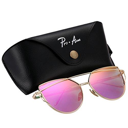 Pro Acme Fashion Metal Frame Cat Eye Sunglasses for Women Mirrored Flat Lens (Gold Frame/Rose Pink Mirrored - Glasses Trend Korean 2016
