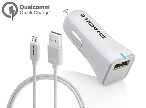 Price comparison product image Quick Charge 2.0 Car Charger, Galaxy S7 6,Note 5 Car Charger, Shackle Ultra Fast Quick Charge 2.0 USB Car Charger for Samsung Galaxy S6/S5/S4/S3, Galaxy Tab, Note 4/3/2, Google Nexus 6 - White
