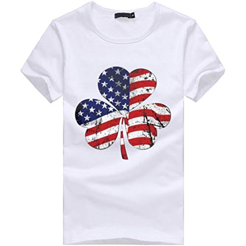 Barthylomo Patriotic American Flag Printed T-Shirt, Women Plus Size Clover Print Blouse Short Sleeve Tops Independence Day