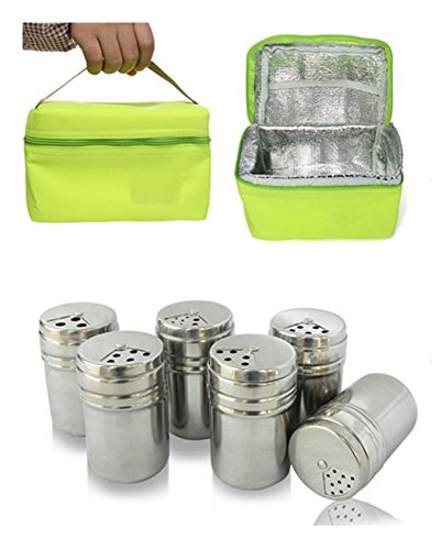 FantasyDay Gift Set Spice Jar With Shaker Tops Food Seasoning Dressing Bottle with Travel Bag Salt/Sugar/Spice/Pepper/Cheese Shaker Kitchen Gadget for Camping, Party and Wedding Set of 6#2 (Professional Grill Box Carry Bag)