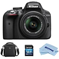 Nikon D3300 DSLR with AF-S DX NIKKOR 18-55mm f/3.5-5.6G VR II DX Lens, Black - With Camera Bag, 16GB SDHC Card, Microfiber Cloth