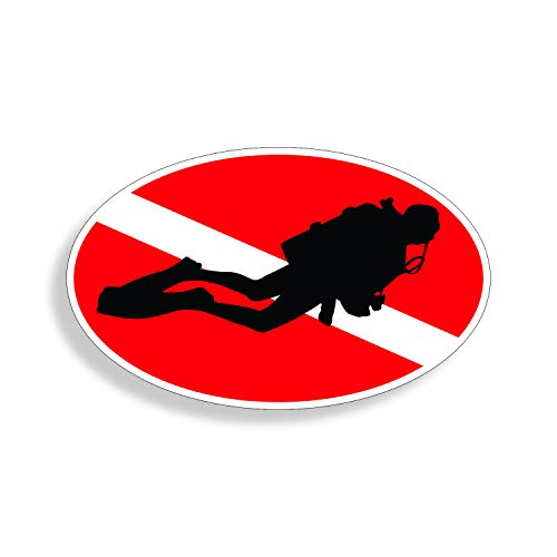 (Scuba Dive Oval with Diver on Down Flag 3 x 5 Decal Sticker)