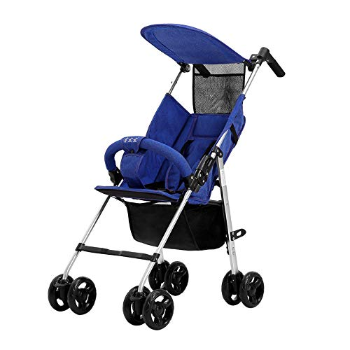 LIZONGFQ Stroller, from Birth to 25 kg, Lightweight Folding Aluminum Alloy Extendable Hood and Rain Cover | Blue