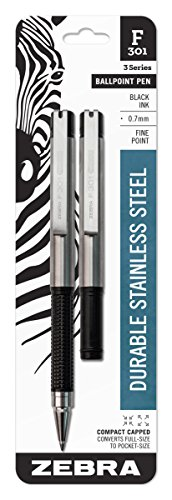 - Zebra F-301 Compact Ballpoint Stainless Steel Retractable Pen, Fine Point, 0.7mm, Black Ink, 2-Count