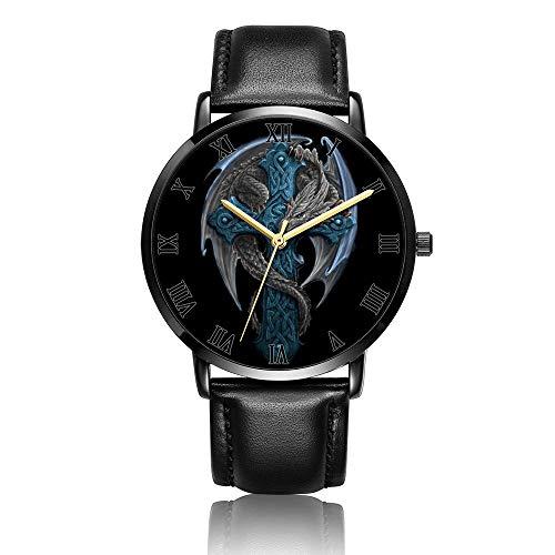 - Whiterbunny Customized Blue Dragon Cross Wrist Watch Unisex Analog Quartz Fashion Black Leather Bracelet Wristwatch for Women and Men
