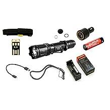 Klarus XT11 STEALTH SUPER BUNDLE w/ CREE XM-L2 U2 LED 1060 Lumens, Klarus CH1 Charger/Powerbank, (1) 18650 Battery, Holster, Car Adapter, Charge Cord, & USB mini light by Klarus
