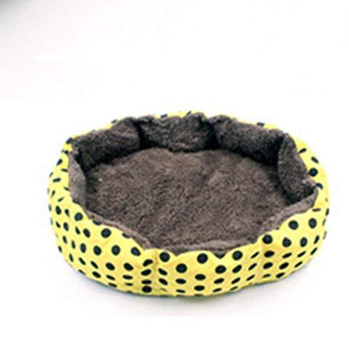 Super Soft Cotton Velvet Winter Warm Dog Bed cat nest Removable wash Wave Pet nest,Yellow,S ()