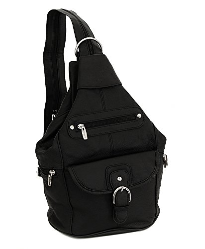 Womens Leather Convertible 7 Pocket Medium Size Tear Drop Sling Backpack Purse Shoulder Bag, Black