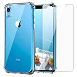 iPhone XR Clear Case & Screen Protector | 2 in 1 Bundle Package | Tempered Glass Screen Protector | Crystal Clear Transparent Soft Case | Shockproof Bumpers | Slim Fit | Compatible with iPhone XR