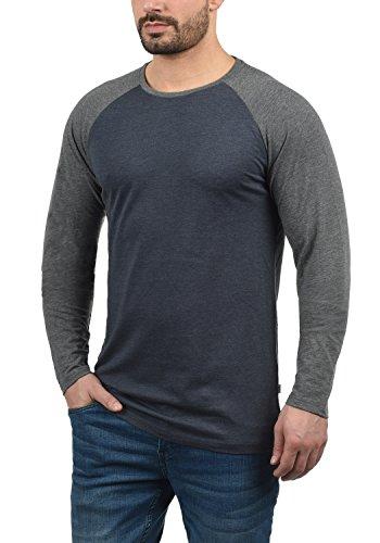 Grey De Cuello Larga Hombre Camiseta solid Básica Con Blue Manga Bastien Longsleeve g8991 Redondo Para Melange qtAOv