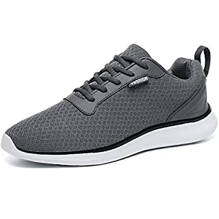 GESIMEI Men's Breathable Mesh Tennis Shoes Comfortable Gym Sneakers Lightweight Athletic Running Shoes (10 M US, Darkgrey)