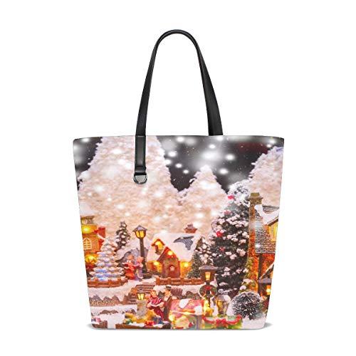 Women Santa Claus Christmas Tree Toys Christmas Handle Satchel Handbags Shoulder Bag Tote Purse Messenger Bags
