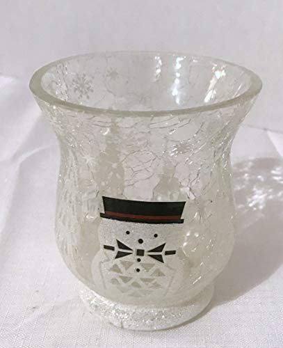 Yankee Candle New Jackson Frost Snowman Crackle Hurricane Votive Candle Holder