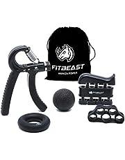 FitBeast Handtrainer voor krachtverhoging, trainingsset met onderarmgreep, set van 5, verstelbare handtrainer, vingertrainer, vingerstretcher, trainingsring en stress-afbouw-handgreep voor sporters zwart
