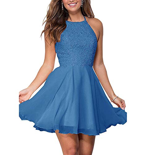 Graceprom Women's Halter Lace Homecoming Dresses Backless Beaded Chiffon Formal Short Prom Cocktail Dress Sky Blue