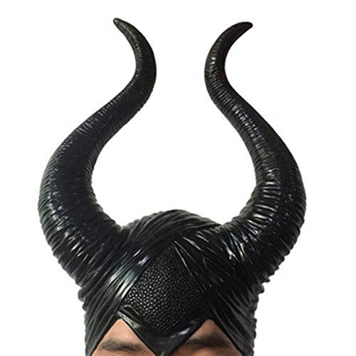 MostaShow Maleficent Headpiece Longhorn Deluxe Halloween Cosplay Costume Horns,Black,Well Suit (Black)