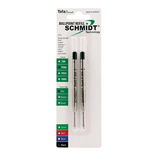 Schmidt P900 Ballpoint Tc Ball Parker Style Refill Fine Black, 2 Pack Blister (SC58139)