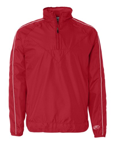 Rawlings Dobby 1/4-Zip Wind Jacket - 9708 - Red - Large