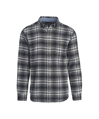 Woolrich Men's Trout Run Flannel Shirt, Black Hunt Plaid, La