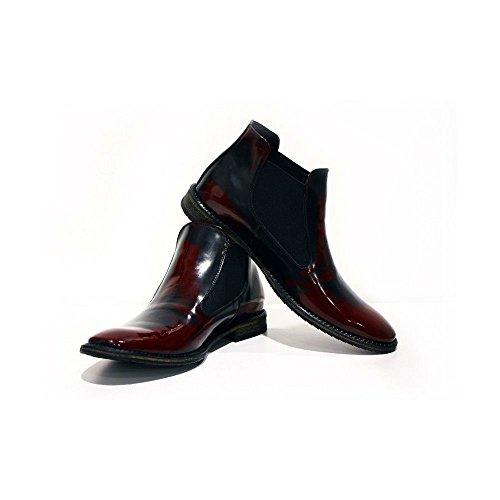 Slip Italiensk Chelsea Peppeshoes Boots Menns Burgunder Lær Patent Catania on Ankel Kuskinn Modello Håndlaget H8x84q7