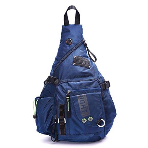 DDDH Large Sling Bags Crossbody Backpack 14.1-Inch Chest Daypack Travel Bag Book Bag for Men&Women(Blue)