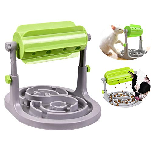 Interactive Dog Cat Slow Feeder Food Puzzle Toy,FDA Certified Pet IQ Training Bowl for Puppy Kitten & Small/Medium Dog,Slow Eating-Prevent Gorging & Bloating,Adjustable Height Food Dispenser