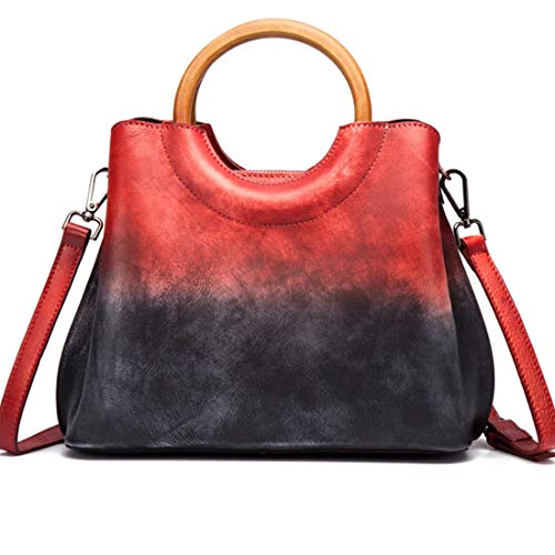 Para Purple Viajes De Red Vintage Trabajo Jiuyizhe Black color Retro Satchels Crossbody Mujeres Bolso Bolsos Cuero Genuino FwqZP8qxf