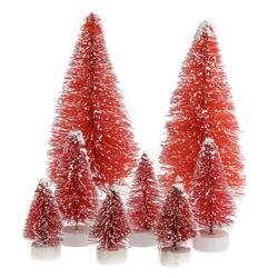 Factory Direct Craft Set of 24 Frosted Red Bottle Brush Miniature Sisal Trees (Brush Red Bottle Tree)