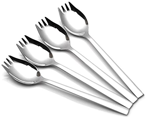 Xesea Sporks 4-pack 1.6-inch Wide 18/10 Stainless Steel Sporks for Everyday Use, Camping Backpacking Utensils,Spaghetti Salad Dessert Heavy Duty Flatware set,8.2-inch Long(L) (Set Salad Long)