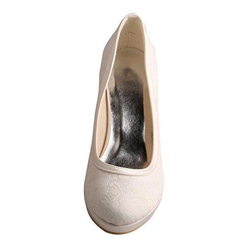 Wedopus MW003R Women's Lace and Satin Round Toe Platform High Heel Bridal Shoes Ivory HjNqjkcv