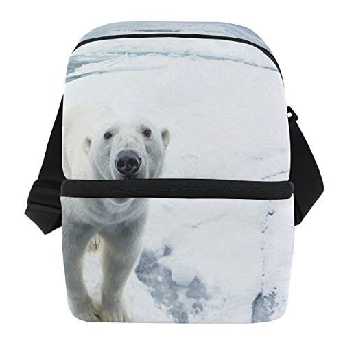 Lunch Bag Polar Bear Portable Cooler Bag Mens Leakproof Grocery Storage Zipper Tote Bags for BeerCans