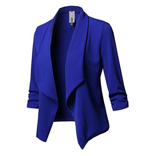 Giacche Blu Donna Manica Lunga Tinta Cardigan Unita Piega Pulsante 5XL Blazer Nessun Formale S Jacket Classica Affari Giacca Blazer 44wzrEU