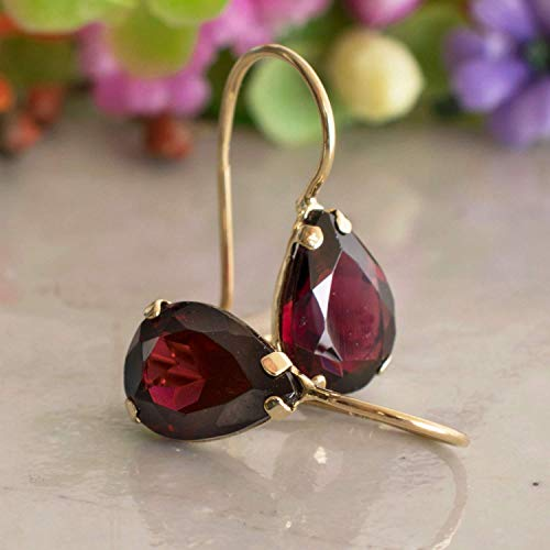14K Gold Red Garnet Earrings - 14K Solid Yellow Gold Dangle Drop Earrings, January Birthstone, 7x10mm Dark Red Genuine Garnet Natural Real Gemstone, Perfect Dainty Handmade Gift for Minimalist Women