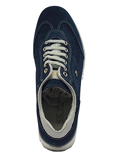 Keys Schuhe für Damen aus Wildleder perforiert blau Avio