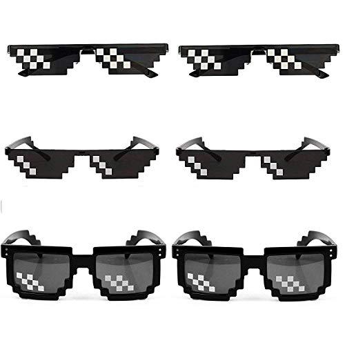 [6 Pack] Thug Life Sunglasses, Thuglife Glasses for Men Women Kids Photo Props 8 Bit Pixel Mosaic Glass Unisex Sunglass Toy - ()